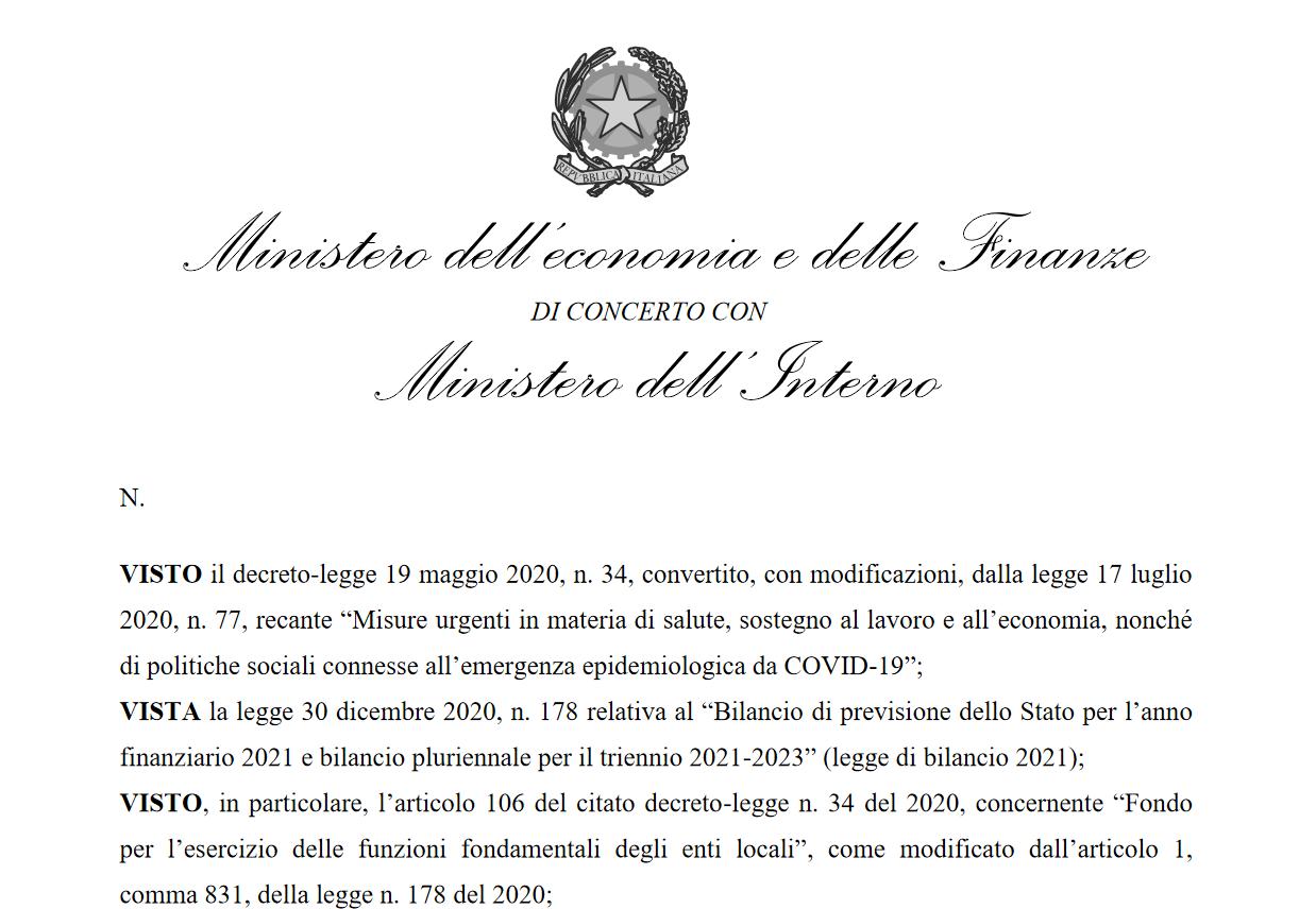 Decreto Ministero Interno e MEF Ristori
